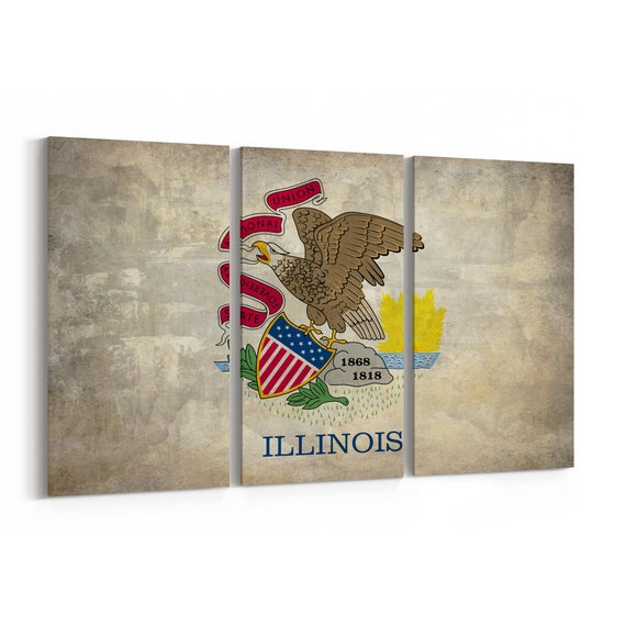 Illinois State Flag Canvas Print Illinois State Flag Wall Art Canvas Multiple Sizes Wrapped Canvas on Wooden Frame