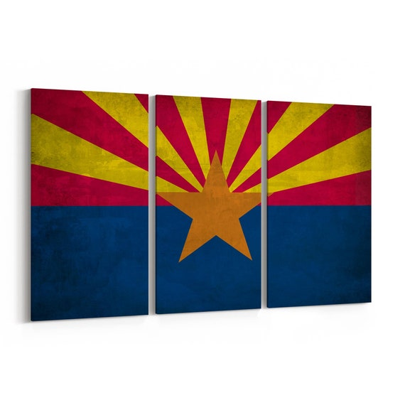 Arizona State Flag Canvas Print Arizona State Flag Wall Art Canvas Multiple Sizes Wrapped Canvas on Wooden Frame