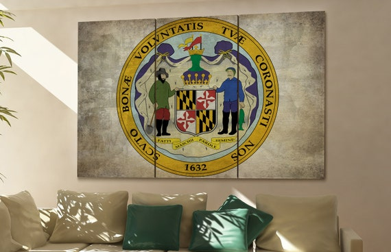 Maryland seal flag  canvas Maryland seal flag  wall decoration Maryland seal flag  canvas art Maryland seal flag large canvas