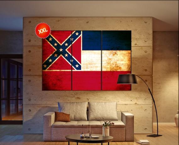 mississippi state flag canvas art print large  canvas print flag of the state of mississippi Wall Home decor interior Office Decor