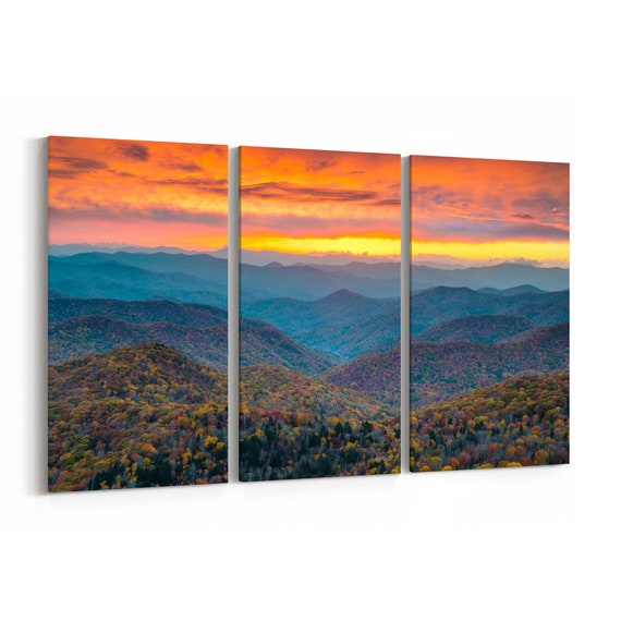 Blue Ridge Parkway Mountains Canvas North Carolina Print Wall Art Canvas Multiple Sizes Wrapped Canvas on Wooden Frame