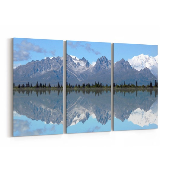Mt. Foraker and Grand Tokosha Canvas Print Mt. Foraker and Grand Tokosha Wall Art Canvas Multiple Sizes Wrapped Canvas on Wooden Frame