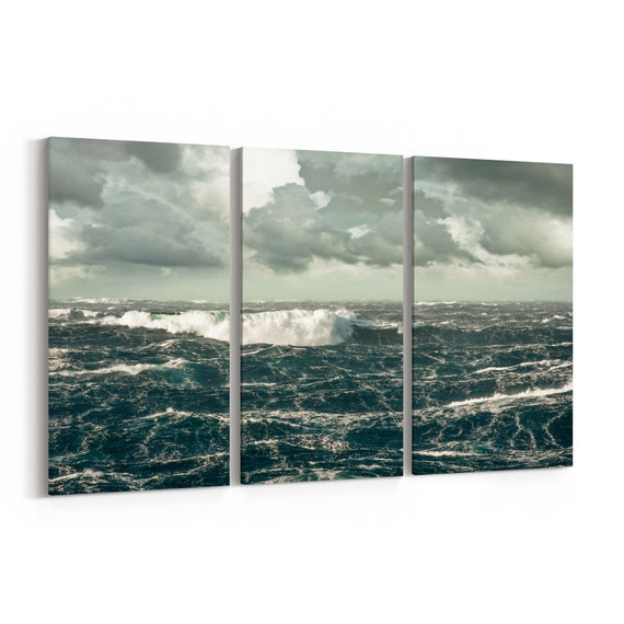 Waves Ocean Canvas Print Waves Ocean Wall Art Canvas Multiple Sizes Wrapped Canvas on Wooden Frame