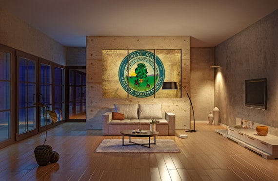 North Dakota seal flag  canvas North Dakota seal flag wall decoration North Dakota seal flag canvas art large canvas
