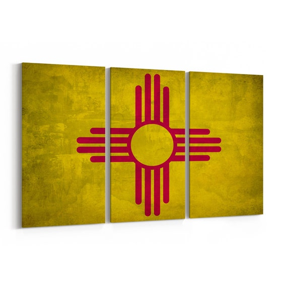 New Mexico State Flag Canvas Print New Mexico State Flag Wall Art Canvas Multiple Sizes Wrapped Canvas on Wooden Frame