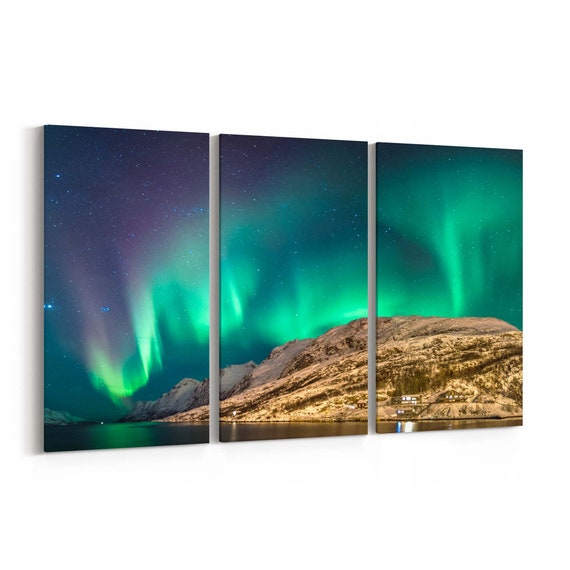 Northern Light Wall Art Canvas Northern Light Canvas Print Multiple Sizes Wrapped Canvas on Wooden Frame
