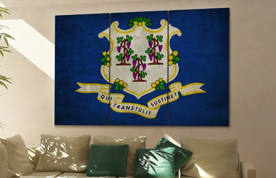 Connecticut  state flag Connecticut  flag state of Connecticut  Connecticut  wall decor Connecticut  wall art Connecticut  gift