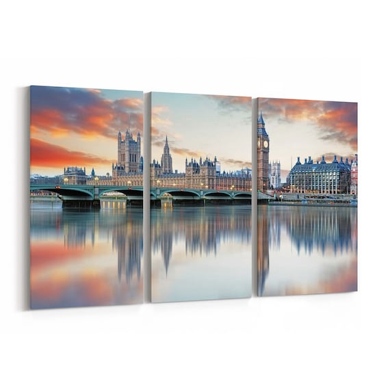 London Skyline Wall Art London Canvas Print Multiple Sizes Wrapped Canvas on Wooden Frame