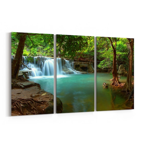 Waterfall Canvas Wall Art Waterfall Canvas Art Thailand Multiple Sizes Wrapped Canvas on Wooden Frame