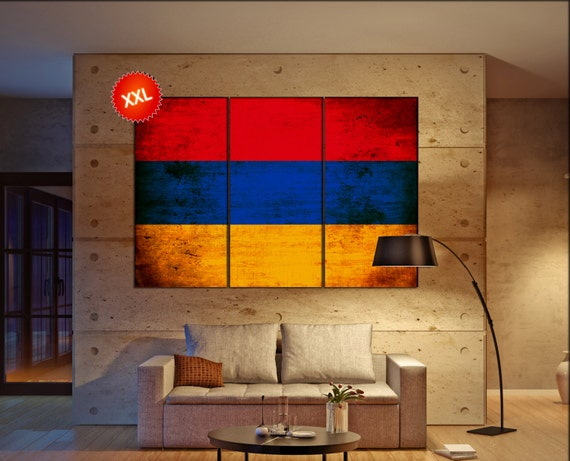 Armenia flag canvas wall art art print large  canvas wall art print country flag Armenia Wall Home office decor interior Office Decor