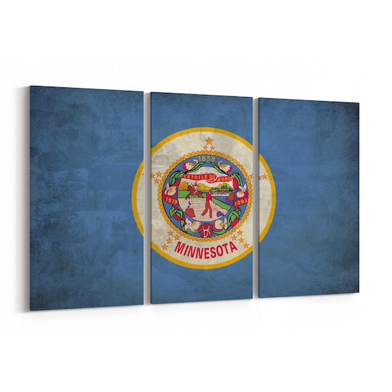 Minnesota State Flag Canvas Print Minnesota State Flag Wall Art Canvas Multiple Sizes Wrapped Canvas on Wooden Frame
