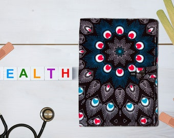 Peacock health card protector made in France and by hand