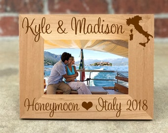 Personalized Italy Honeymoon Picture Frame, Custom Wedding Gift, Wedding Photo Frame, Honeymoon Gift, Italy Honeymoon, Best Selling Items