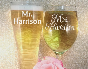 Personalized Mr & Mrs Wine Glass and Pilsner Set - Wedding Gift - His and Hers Wedding Gift - Engagement Gift - Wedding Gift