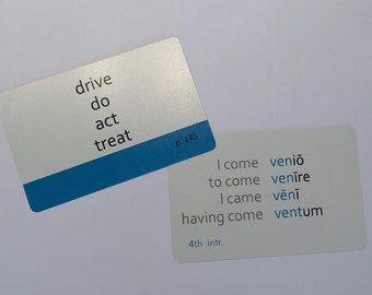 Color-Coded, Challenge A Set of Henle Latin Flashcard Playing Cards (Lessons 1-15)