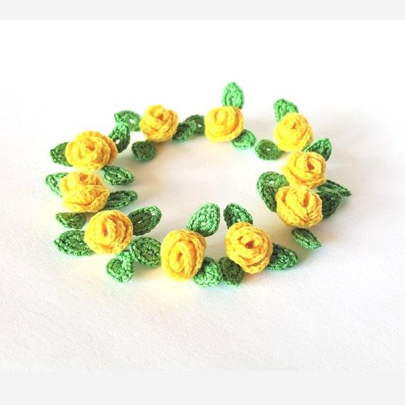 Mini Applikation Häkeln Blume Art Häkeln Gelbe Rosen Blume Etsy