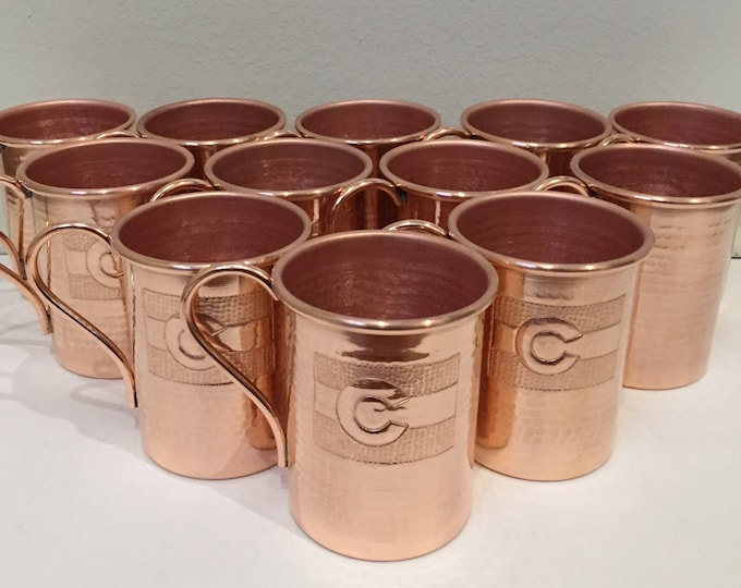 1 Dozen of 16oz Moscow Mule Copper Mugs, hammered w/ Colorado Flag logo