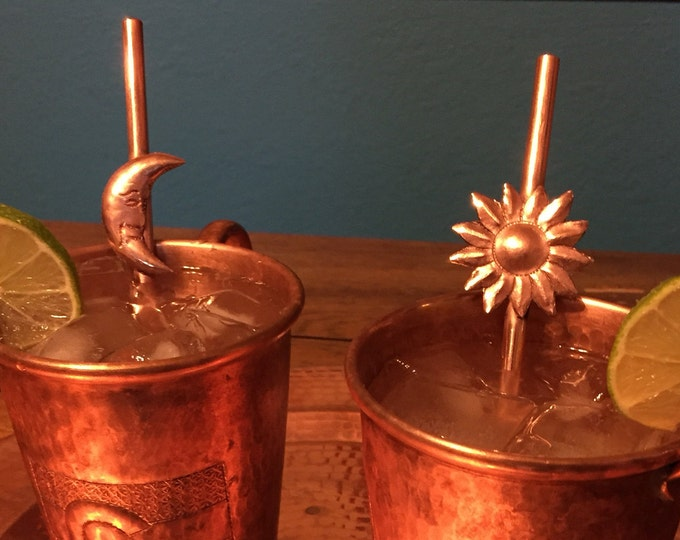 "Set of 4 pure copper cocktail swizzle sticks with sun and moon (7 1/2"")"