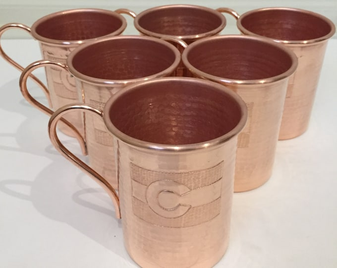 6-pack of 16oz Moscow Mule Copper Mugs, hammered w/ Colorado Flag logo