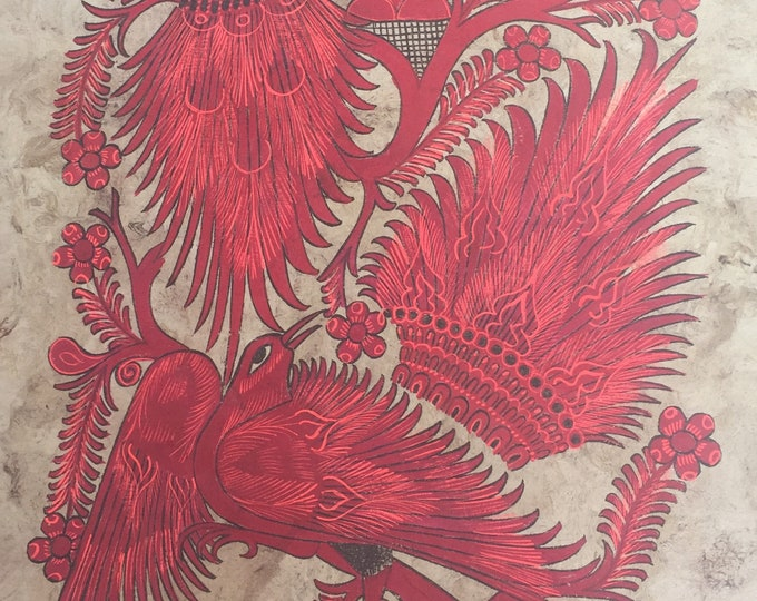 Two Red Birds Painting on Amate Paper