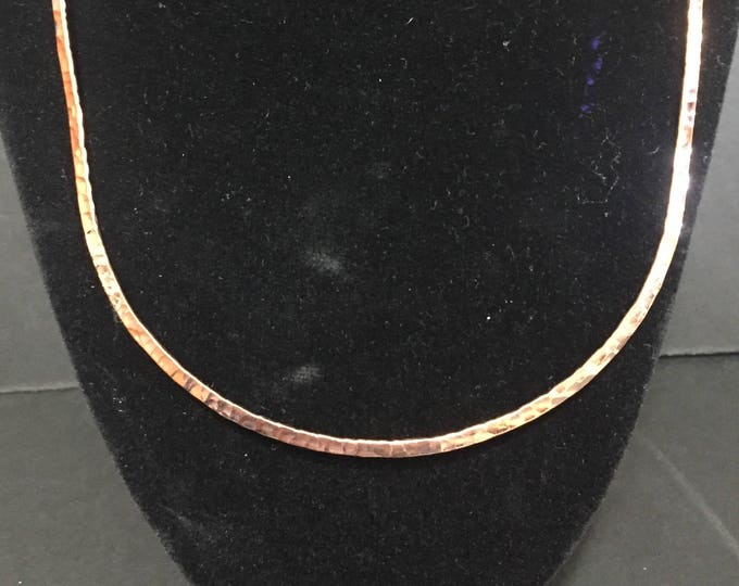 """Hammered Copper Hoop necklace 16"""" diameter with hook clasp"""