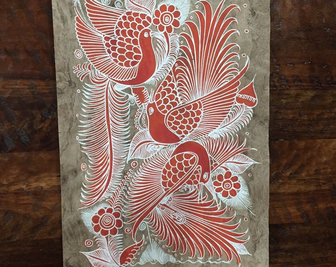 Red Peacocks Painting on Amate Paper