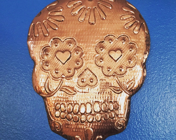Handcrafted Hammered Copper Calavera Wall Mask