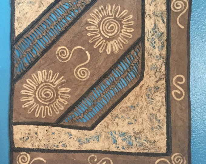 Amate Bark Paper Wall Art with Two Sun Design