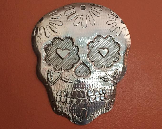 Handcrafted Hammered Aluminum Calavera Wall Mask