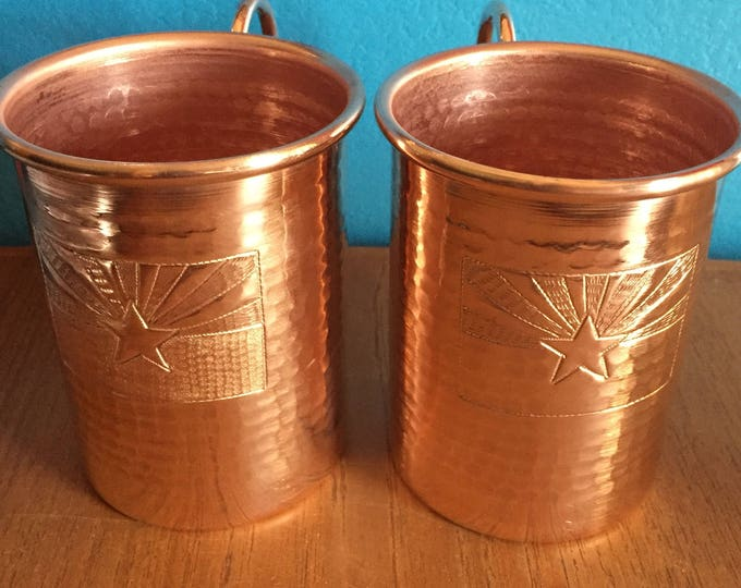 2-pack of 16oz Moscow Mule Copper Mugs, hammered w/ Arizona Flag logo