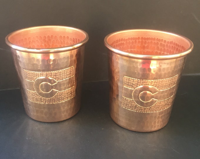 2-Pack 16oz Moscow Mule Hammered Copper Tumbler with Colorado flag