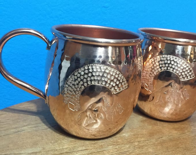 2-pack of 16oz Moscow Mule Hammered Copper Barrel Mug with Colorado C and mountains engraving