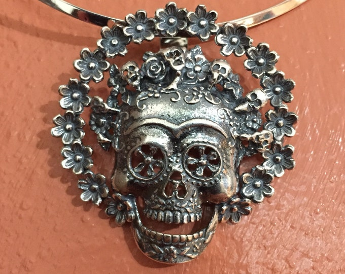 Sterling Silver Calavera Skull and Roses Pendant