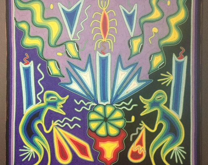 """Huichol Yarn Art - 24"""" x 24"""" Nierika Tablet by Consuelo Cariillo"""