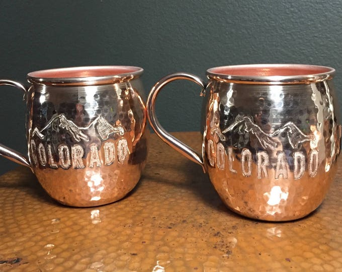 2-pack of 18oz Moscow Mule Hammered Copper Barrel Mug with Colorado and mountains engraving