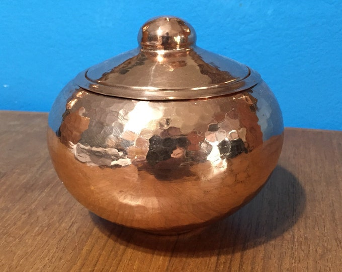 Hammered Copper Round Storage Container with Lid