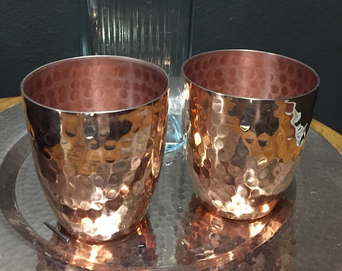 2-pack of handcrafted heavy gauge hammered copper 12oz water cup drinking glass