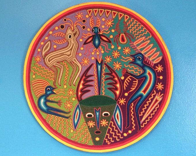 "Huichol Yarn Art - 24"" Round Yarn Tablet by Fidencio Benitez Rivera"