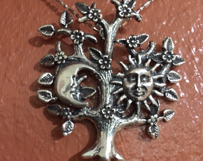 Sterling Silver Tree with Sun and Moon Pendant