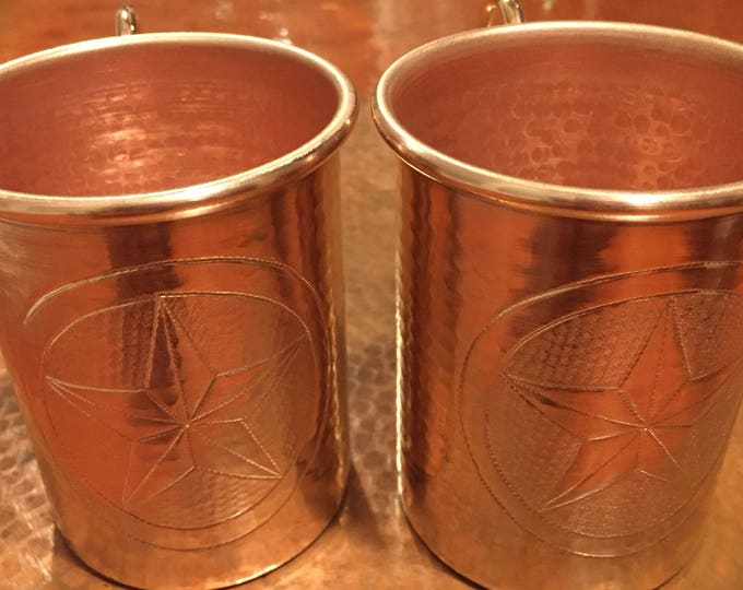 2-pack of 16oz Moscow Mule Copper Mugs, hammered w/ Texas Star logo