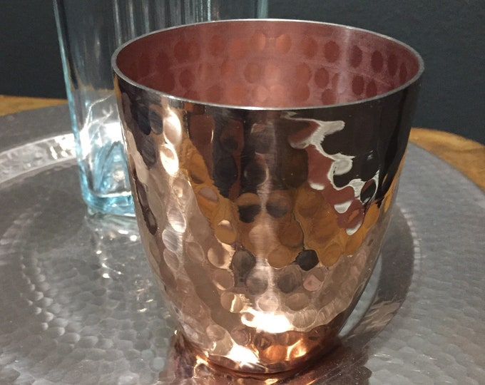 Handcrafted heavy gauge hammered copper 12oz water cup drinking glass