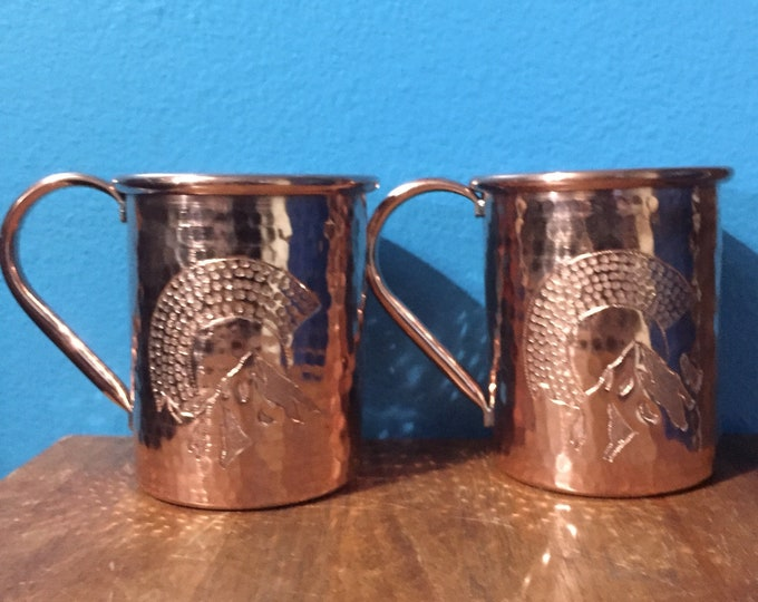 "2-pack of 16oz Moscow Mule Copper Mugs, hammered w/ Colorado ""C"" with mountains engraving"