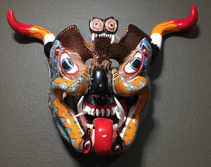 Large Mexican Decorative Indigenous Diablo Devil Hand Carved Wood Wall Mask
