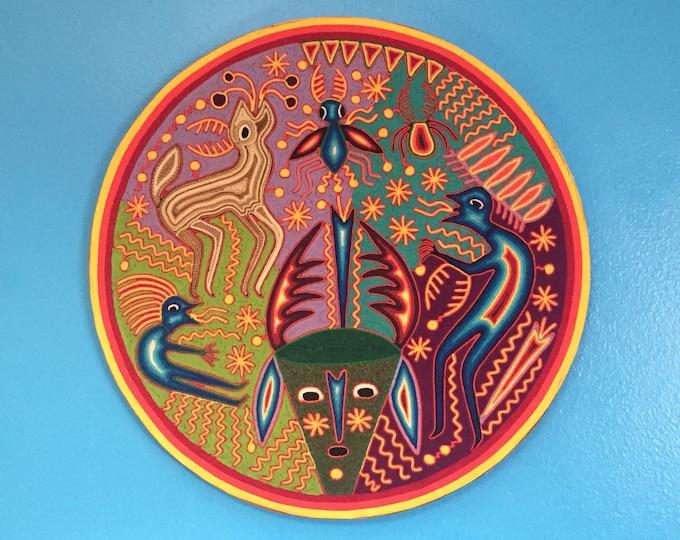 "Huichol Yarn Art - 24"" Round Yarn Tablet by Fidencio Benitez Rivera"