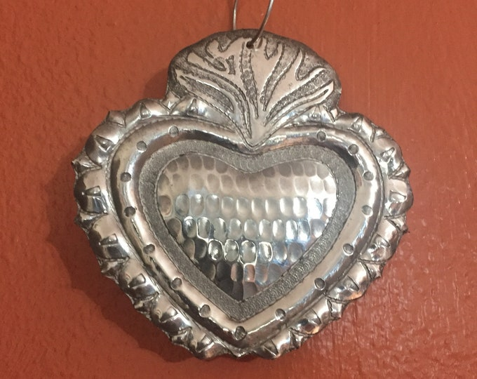 Handcrafted Pure Hammered Aluminum Milagro Heart Christmas Tree Ornament