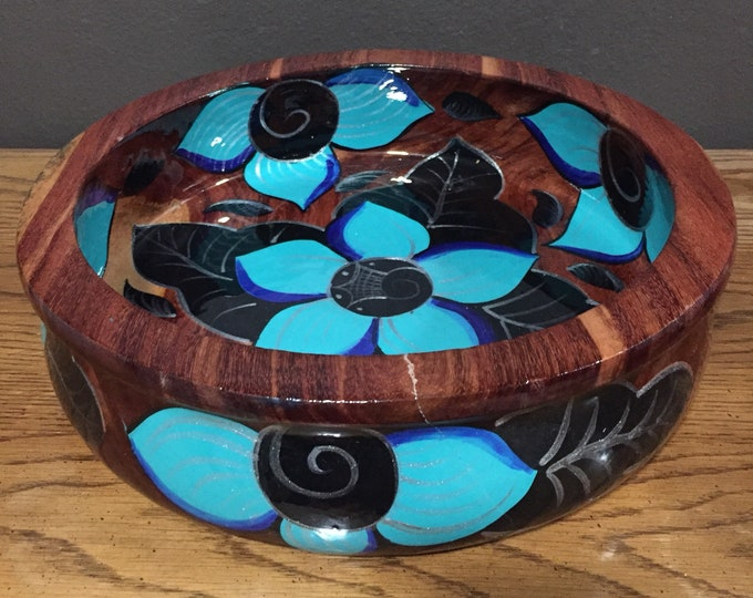 """Handcrafted painted decorative mesquite bowl (12""""x3"""")"""