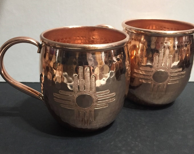 2-pack of 16oz Moscow Mule Hammered Copper Barrel Mug with Zia sun logo