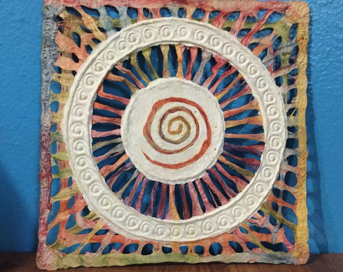 Handmade Amate Paper Wall Art with multicolor woven circle with spiral