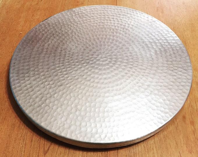 "Hammered Aluminum Lazy Susan rotating serving tray (16"" diameter)"