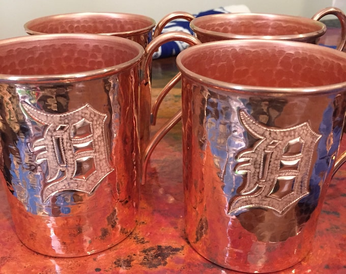"4-pack of 18oz Moscow Mule Copper Mugs, hammered w/ Old English Detroit ""D"" logo"